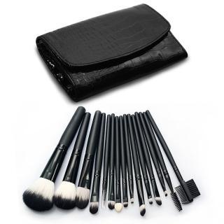 【幸福揚邑】專業彩妝抗菌刷毛木柄化妝刷具皮革化妝包15件組(黑色)
