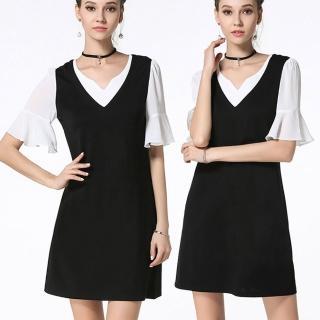 【麗質達人中大碼】2741雪紡拼接假二件式洋裝(M-5XL)
