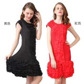 【糖潮】時尚花邊圓領短袖繡球花裙壓摺洋裝(共二色)