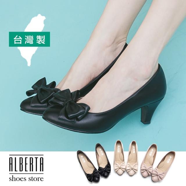 【Alberta】MIT台灣製蝴蝶結皮革6CM中跟鞋尖頭包鞋高跟鞋娃娃鞋(黑)