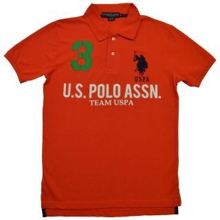 【US POLO】3號馬球經典戰馬短袖POLO衫-橘(美國時尚品牌服飾)