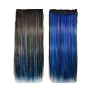 【狐狸姬】髮片一片無痕接髮片造型假髮髮片(藍桃染直髮)