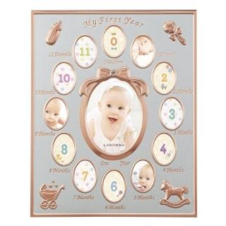 【日本LADONNA】Baby 週歲成長記錄相框 玫瑰金 彌月禮首選(MB84-130-PGD)