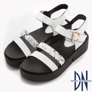 【DN】潮感Fashion 動物紋造型厚底涼鞋(白)