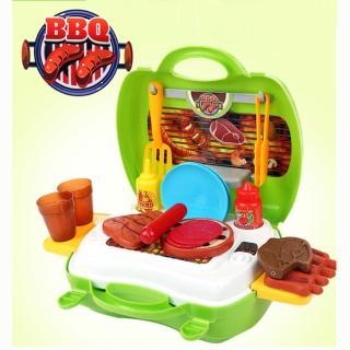 【17mall】多功能家家酒兒童玩具(仿真手提收納BBQ燒烤爐烤肉組)