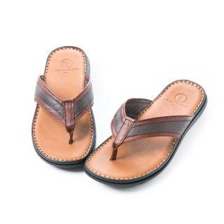 【ALAIN DELON】全真皮舒適夾腳拖鞋A46003(2色  黑色  咖啡色)