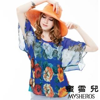 【蜜雪兒mysheros】輕雪紡印花蝴蝶袖圓領上衣(藍)