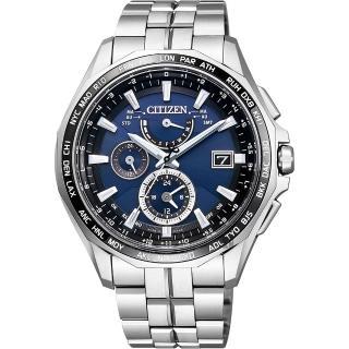 【CITIZEN】星辰 光動能電波鈦金屬腕錶-藍x銀/42mm(AT9090-53L)