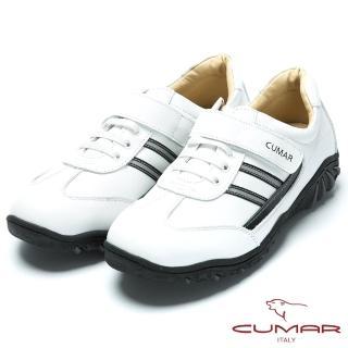 【CUMAR】MIT台灣製造 全真皮舒適魔術貼休閒鞋(白色)