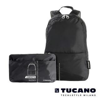 【TUCANO】COMPATTO 超輕量防水尼龍折疊收納後背包(黑)