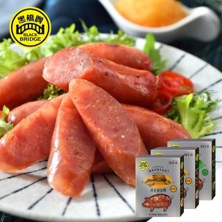 【黑橋牌】飛魚卵香腸系列3件組-經典原味2件+清香芥末1件(東北角天然野生飛魚卵)