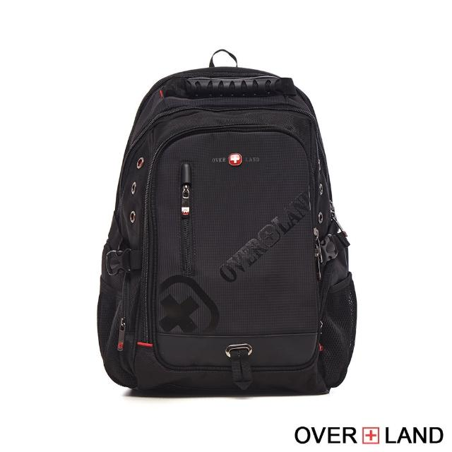 【OVERLAND】美式十字軍-品牌LOGO浮印多夾層後背包(3069)