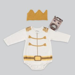 【日安朵朵】男嬰經典禮盒 - 白馬王子 MIT台灣製連身衣+皇冠帽+鬍子奶嘴(長短袖包屁衣寶寶彌月滿月禮)