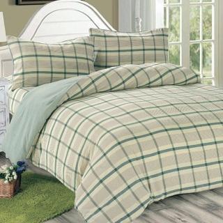 【Victoria】日式條紋四件式雙人床包被單組-葉綠(水洗磨毛日式簡約風)