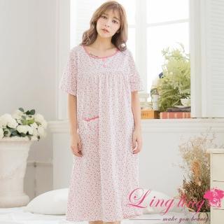 【lingling日系】PA3309大尺碼-小碎花圖案棉質短袖長版連身裙睡衣(甜紅粉)