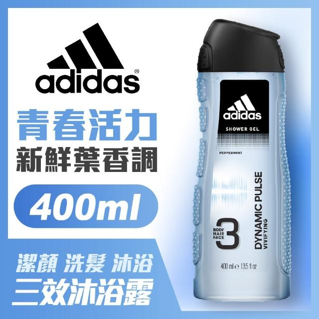 【adidas愛迪達】男用三效潔顏洗髮沐浴露-青春活力(400ml)