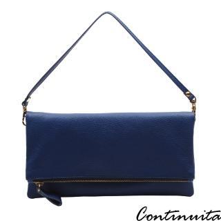 【Continuita 康緹尼】頭層牛皮隨興女孩摺疊手拿包(藍色)