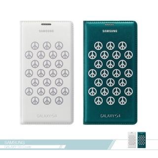 【Samsung三星】原廠Galaxy S5 G900專用 時尚皮套-和平標誌 插卡皮革翻頁 書本式保護套(台灣公司貨)