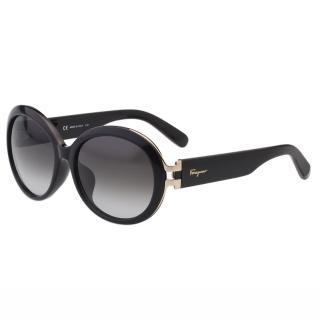 【Salvatore Ferragamo】-復古圓框 太陽眼鏡SF799SA(黑色)