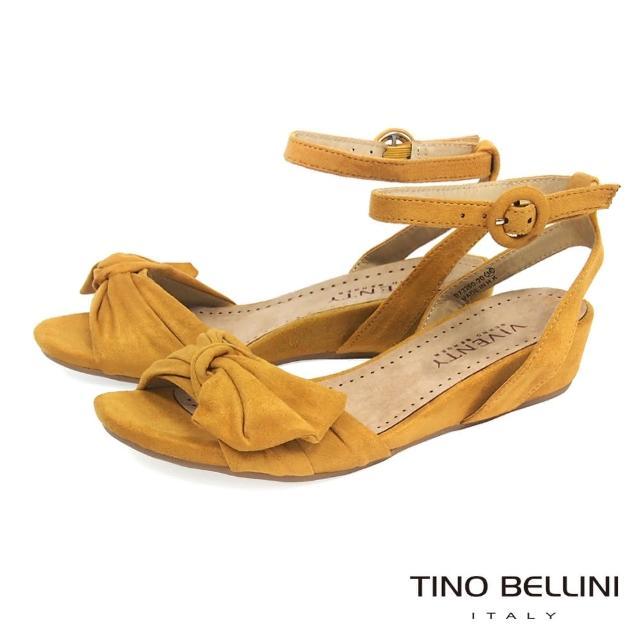【Tino Bellini】浪漫扭結繫踝4cm小坡跟涼鞋 B73260(黃)