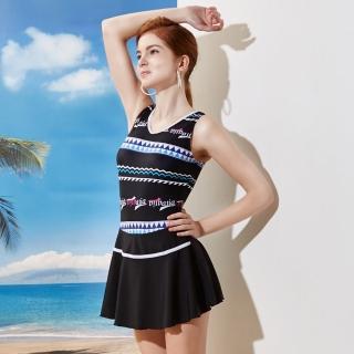【TiNyHouSe小的舖子】深U露背連身裙款式背心裙泳裝 圖騰風(T-687黑色系)