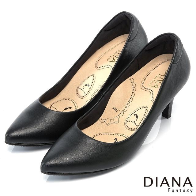 【DIANA】漫步雲端布朗尼H款--輕彈舒適OL制鞋(黑)