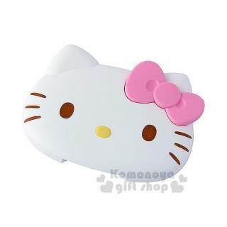 【小禮堂】Hello Kitty 造型濕紙巾蓋《白.大臉.粉蝴蝶結》可重複使用
