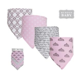 【美國 luvable friends】嬰幼兒三角領巾圍兜4入組_皇冠圖騰(LF50950)