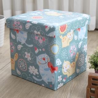 【EASY HOME】繽紛耐重摺疊收納椅凳(露西貓)