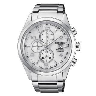 【CITIZEN】GENT'S 紳士品味鈦金光動能測速計時腕錶-白(CA0650-82A)
