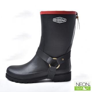 【Neon Walk 尼沃】中筒側扣靴-黑色(雨鞋 雨靴 長筒雨靴 中筒靴 高筒靴 neonwalk)