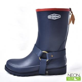 【Neon Walk 尼沃】中筒側扣靴-藍色(雨鞋 雨靴 長筒雨靴 中筒靴 高筒靴 neonwalk)