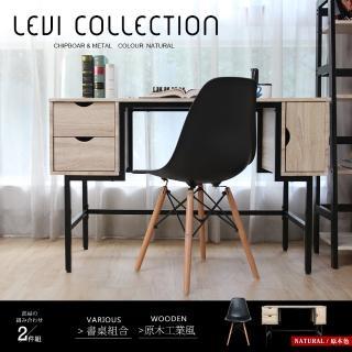 【H&D】里歐工業風個性鐵架收納式書桌椅2件組-收納款(工業風 桌椅)