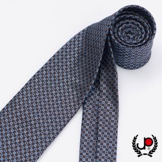 【極品西服】時尚Teflon防潑水100%絲格紋領帶_ 咖啡藍格(YT5037)