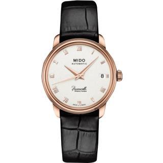 【MIDO】美度 Baroncelli III 羅馬機械女錶-銀x玫塊金框x黑色錶帶/33mm(M0272073601300)