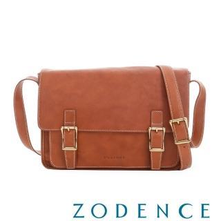 【ZODENCE】義大利植鞣革系列雙皮帶釦設計立體斜揹包(橘紅)