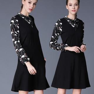 【麗質達人中大碼】8056印花假二件優雅洋裝(L-6XL)