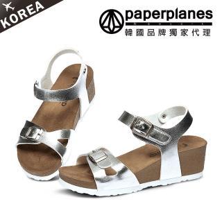 ~PAPERPLANES韓國休閒鞋~正韓製 正常版型~皮革側鏤空魔鬼氈交叉釦帶楔型涼鞋 7
