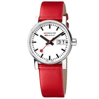 【MONDAINE 瑞士國鐵】evo2時光走廊腕錶-30mm/紅