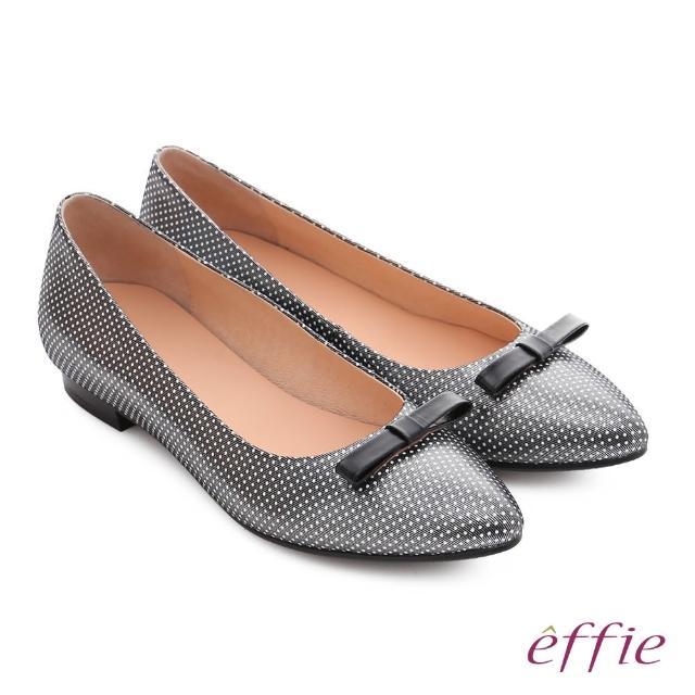【effie】輕甜自適 真皮蝴蝶點點印花質感跟鞋(黑)