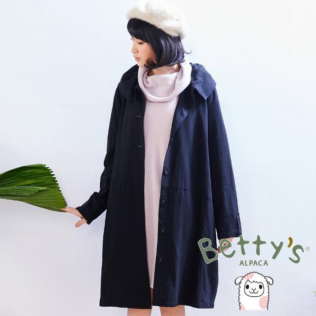 【betty's貝蒂思】復古翻領大鈕扣寬鬆長版大衣(黑色)