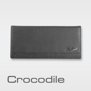【Crocodile】鱷魚皮件 真皮長夾 13卡 窗格 拉鍊零錢袋 男夾 0103-3351-黑咖兩色(Classic經典系列)