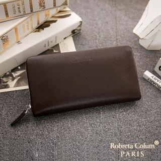【Roberta Colum】經典品味鹿紋牛皮單拉鍊長夾正規版-共3色