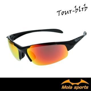 【MOLA SPORTS】摩拉兒童8-12歲運動太陽眼鏡 黑色 多層膜鏡片 UV400(跑步/自行車/棒球 Tour-blrb)
