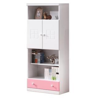 【顛覆設計】童話2.5尺粉紅雙色下抽書櫃