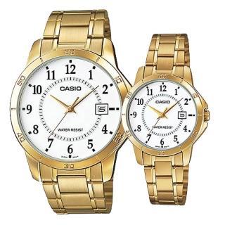 【CASIO】低調奢華數字造型男女對錶-金(MTP-V004G-7B+LTP-V004G-7B)