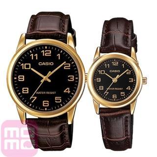 【CASIO】奢華浪漫皮帶造型男女對錶-金(MTP-V001GL-1B+ LTP-V001GL-1B)