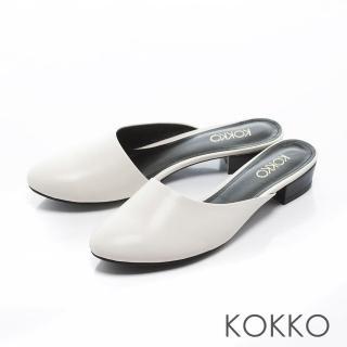 【KOKKO集團】時髦氣勢不對稱鞋口平底穆勒拖鞋(輕柔白)