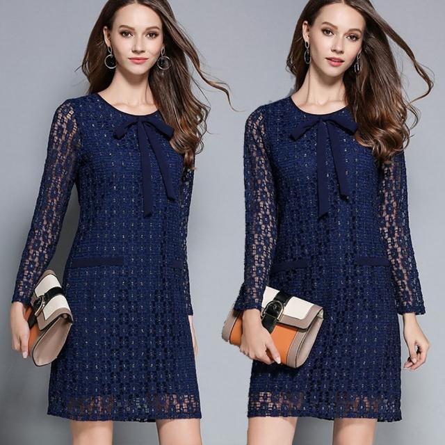 【麗質達人】2765藍色蕾絲洋裝(M-5XL)