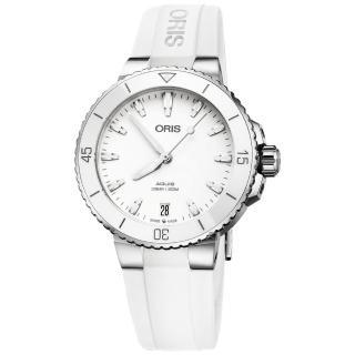 【ORIS 豪利時】水鬼 Aquis 時間之海潛水300米機械錶-白色橡膠帶/36.5mm(0173377314151-0741863FC)